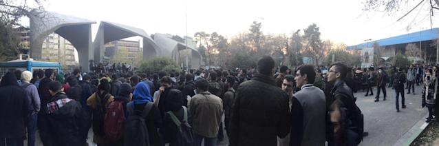 <p>People protest near the university of Tehran, Iran, Dec. 30, 2017 in this picture obtained from social media. (Photo: Reuters) </p>