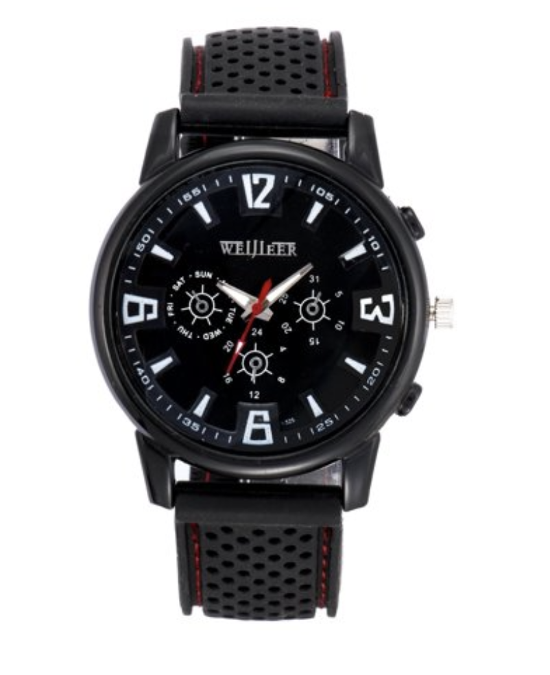 black men's wristwatch with silicone band and black face