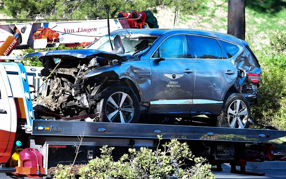 There was extensive damage to Tiger Woods' SUV - AFP