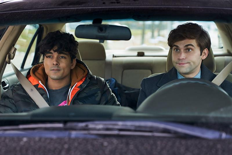 "Niko Terho (left) and Jake Borelli star in ""The Thing About Harry,"" out Feb. 15 on Freeform.  (Freeform/Parrish Lewis)"