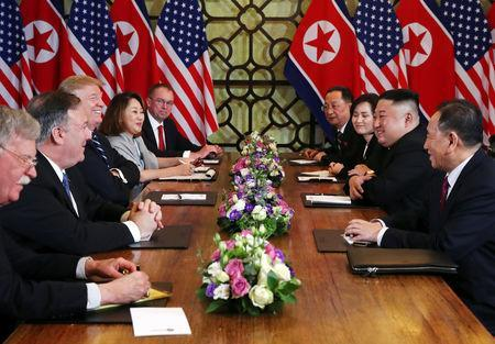 North Korea's leader Kim Jong Un and U.S. President Donald Trump attend the extended bilateral meeting in the Metropole hotel with U.S. Secretary of State Mike Pompeo, White House national security adviser John Bolton, acting White House Chief of Staff Mick Mulvaney, North Korean Foreign Minister Ri Yong Ho and Kim Yong Chol, Vice Chairman of the North Korean Workers' Party Committee, during the second North Korea-U.S. summit in Hanoi, Vietnam February 28, 2019. REUTERS/Leah Millis