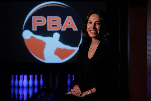 Professional Bowling Association CEO Colie Edison poses at Bowlmor Lanes in New York