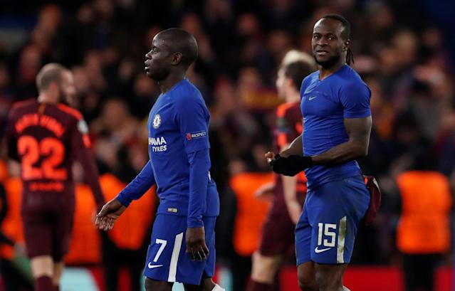 Soccer Football - Champions League Round of 16 First Leg - Chelsea vs FC Barcelona - Stamford Bridge, London, Britain - February 20, 2018 Chelsea's N'Golo Kante (L) and Victor Moses after the match Action Images via Reuters/Matthew Childs