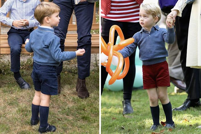 <p>Prince Louis once again borrowed from his elder brother's closet this past September, wearing Prince George's old sweater to a private outdoor screening of Sir David Attenborough's new film. George was seen wearing the same garment in 2016, during the Cambridge family's royal tour of Canada.<br></p>