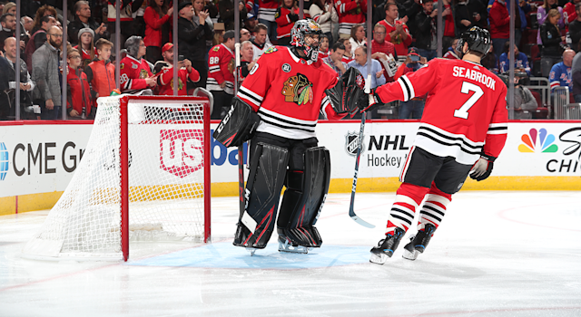 Corey Crawford has picked up where he left off last season. (Photo by Chase Agnello-Dean/NHLI via Getty Images)