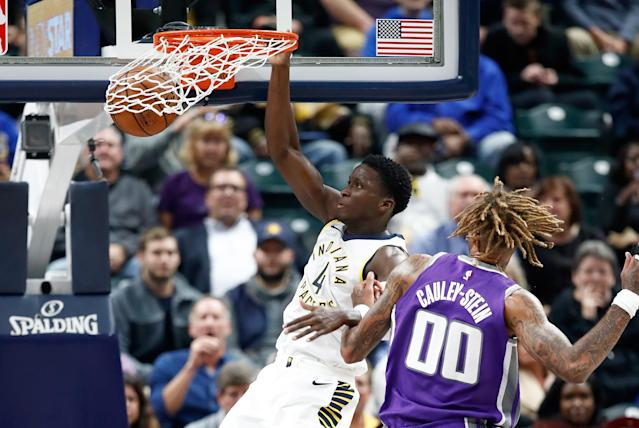 """<a class=""""link rapid-noclick-resp"""" href=""""/nba/players/5153/"""" data-ylk=""""slk:Victor Oladipo"""">Victor Oladipo</a> and the <a class=""""link rapid-noclick-resp"""" href=""""/nba/teams/ind/"""" data-ylk=""""slk:Indiana Pacers"""">Indiana Pacers</a> have gotten off a surprisingly strong start. (Getty)"""