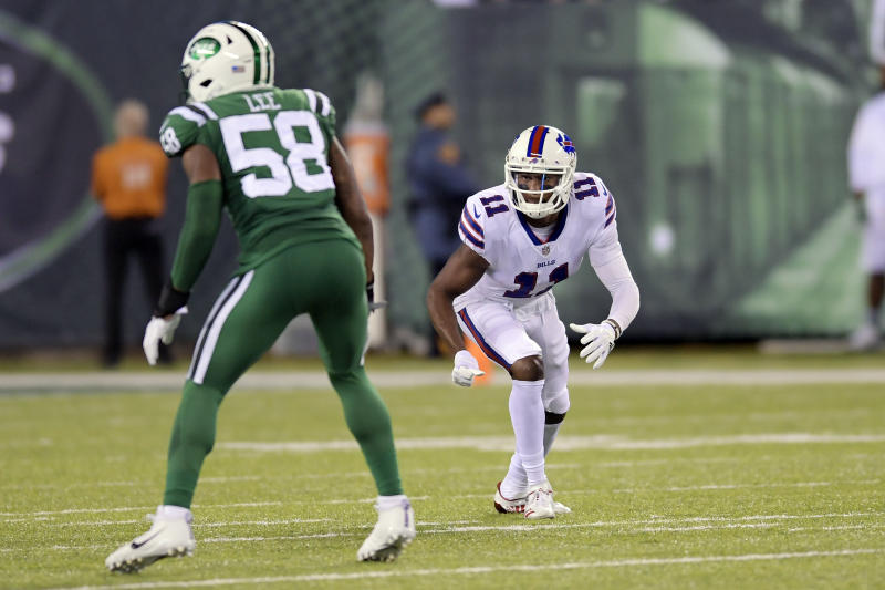 Buffalo Bills wide receiver Zay Jones scored his first career touchdown on Thursday night against the Jets. (AP)