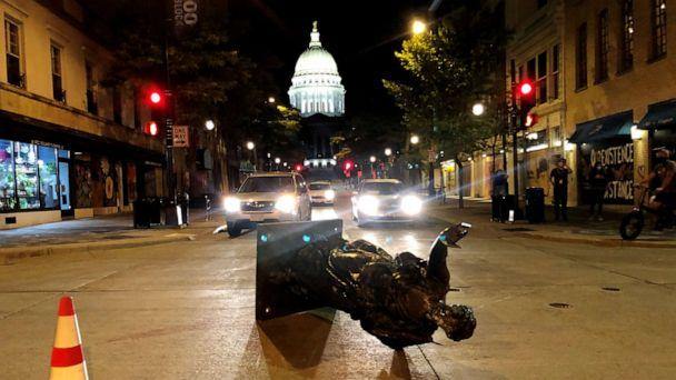 PHOTO: The 'Forward' statue that typically sits at the top of State Street outside the Wisconsin State Capitol in Madison was torn down by protesters, June, 23, 2020. (Lawrence Andrea/Imagn via USA Today)