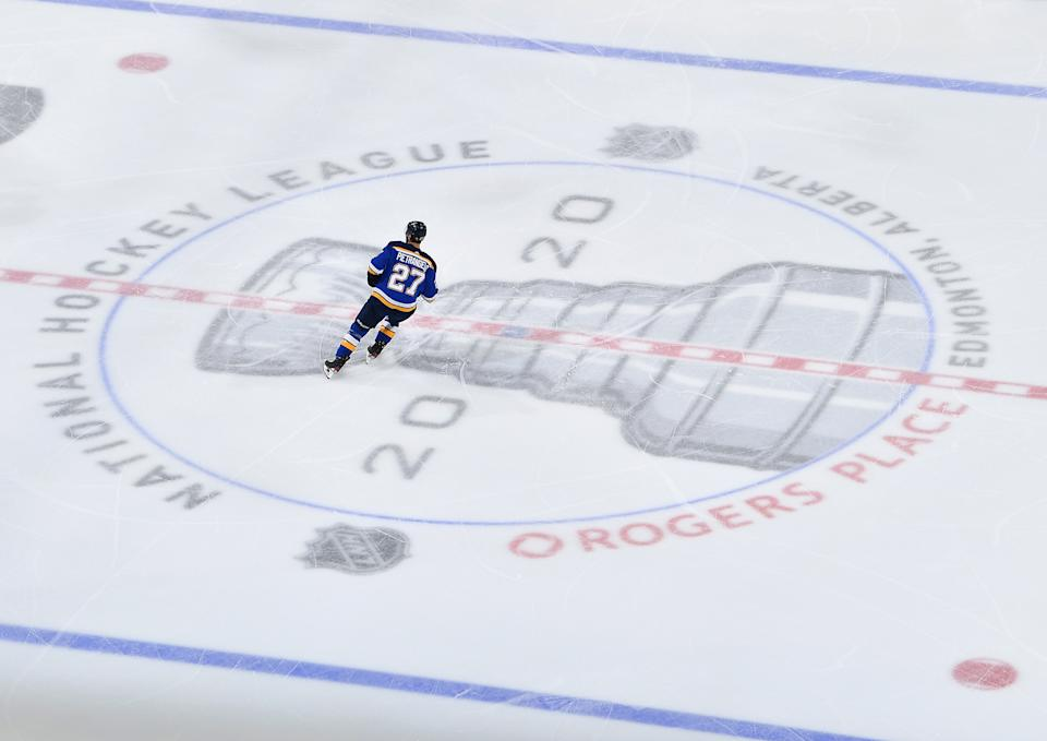EDMONTON, ALBERTA - AUGUST 14:  Alex Pietrangelo #27 of the St. Louis Blues skates through center ice in the first period of Game Two of the Western Conference First Round of the 2020 NHL Stanley Cup Playoff between the Vancouver Canucks and the St. Louis Blues at Rogers Place on August 14, 2020 in Edmonton, Alberta. (Photo by Andy Devlin/NHLI via Getty Images)
