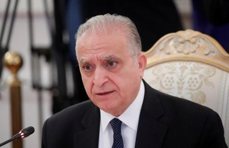 Iraqi Foreign Minister al-Hakim attends a meeting with his Russian counterpart Lavrov in Moscow