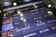 FILE PHOTO: An electronic board shows currency exchange rates in Rio de Janeiro