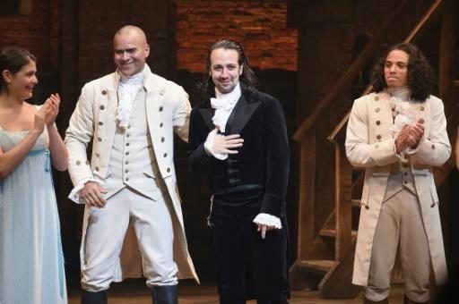 (L-R) Actors Phillipa Soo, Christopher Jackson, 'Hamilton' creator Lin-Manuel Miranda and Anthony Ramos acknowledge Miranda's final performance of the show on Broadway at Richard Rodgers Theatre in July 2016
