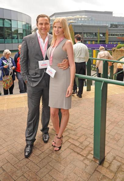 David Walliams and Lara Stone pictured at the Evian Suite at Wimbledon on July 8, 2012 in London, England. (Photo by Alan Chapman/Getty Images)