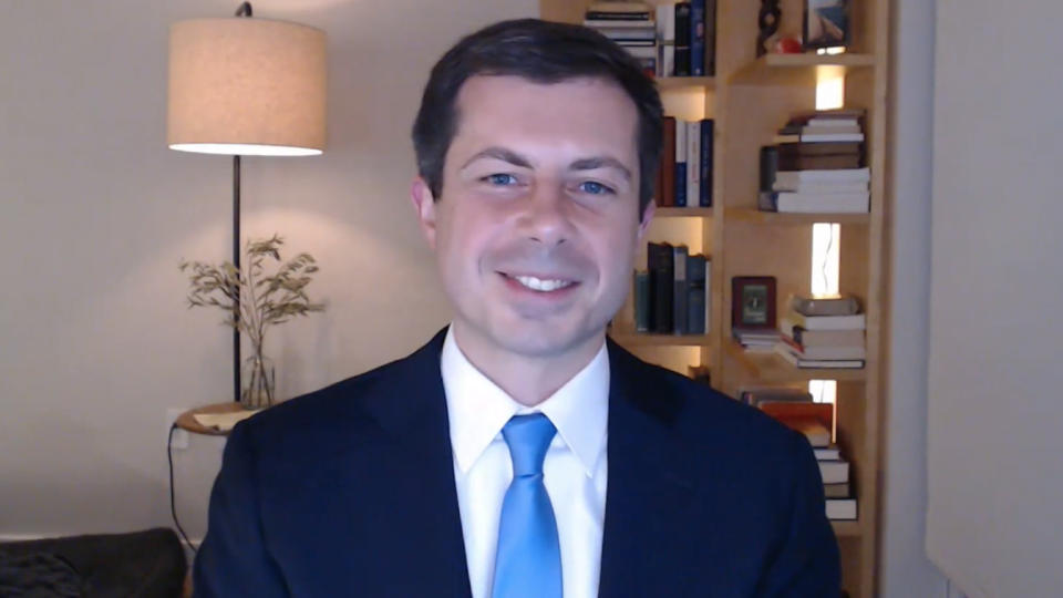 In his first TikTok Live interview, Transportation Secretary Pete Buttigieg talks to Julia Munslow (Yahoo News)