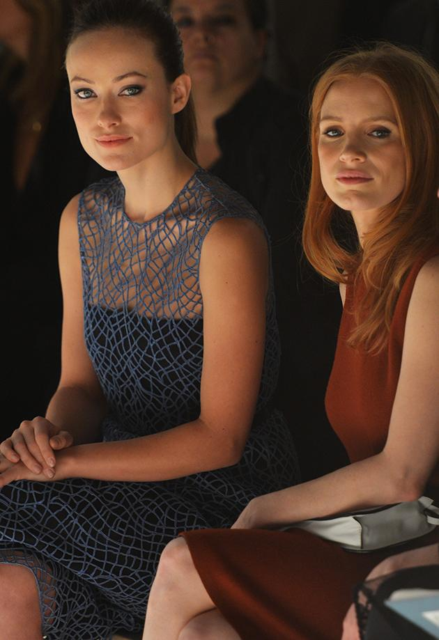 Olivia Wilde and Jessica Chastain at Calvin Klein Could these two women be more elegant and gorgeous? Also, Oscar nominee Jessica Chastain may be giving us a little hint about what she's thinking she might wear on a certain red carpet, don't you think?
