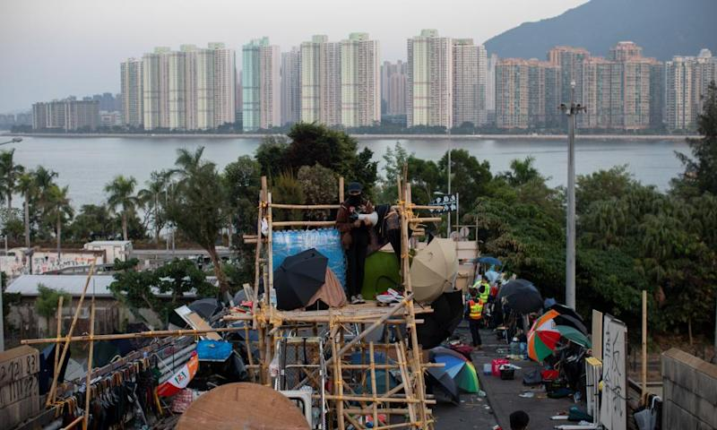 A makeshift bamboo watch tower outside the Chinese University of Hong Kong.