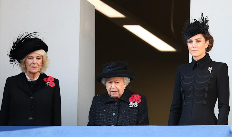 Camilla, Duchess of Cornwall also joined the monarch and the Duchess of Cambridge for the annual memorial to mark the signing of the 1918 Armistice which ended the First World War