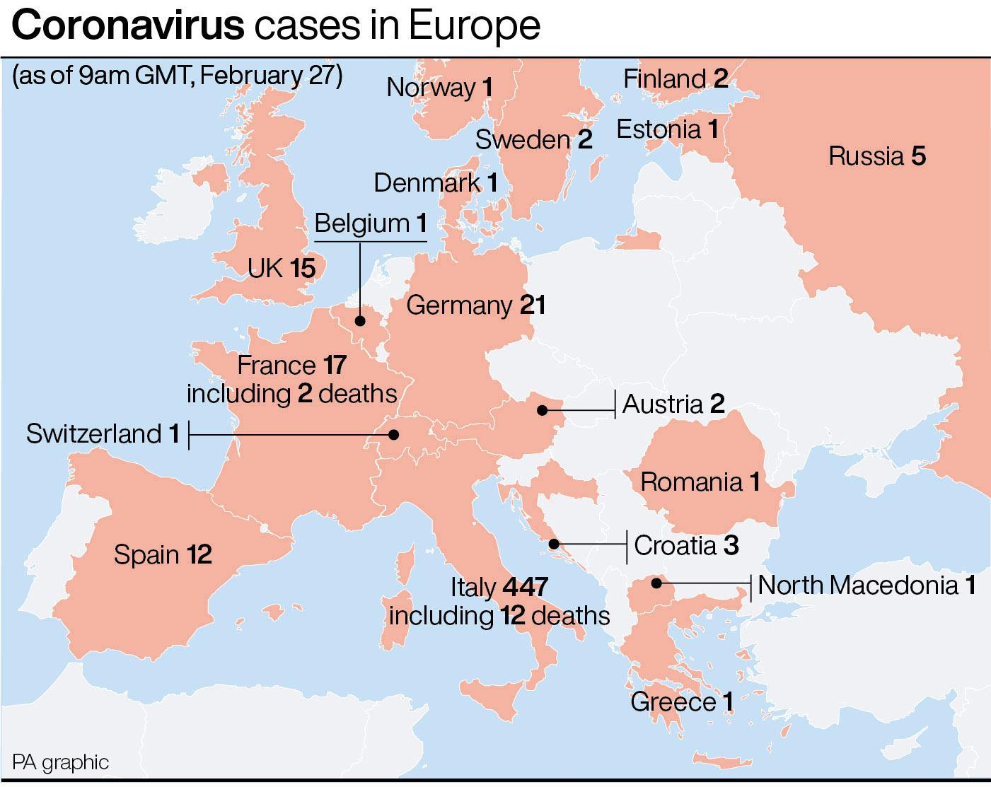 Coronavirus cases in Europe. See story HEALTH Coronavirus. Infographic PA Graphics