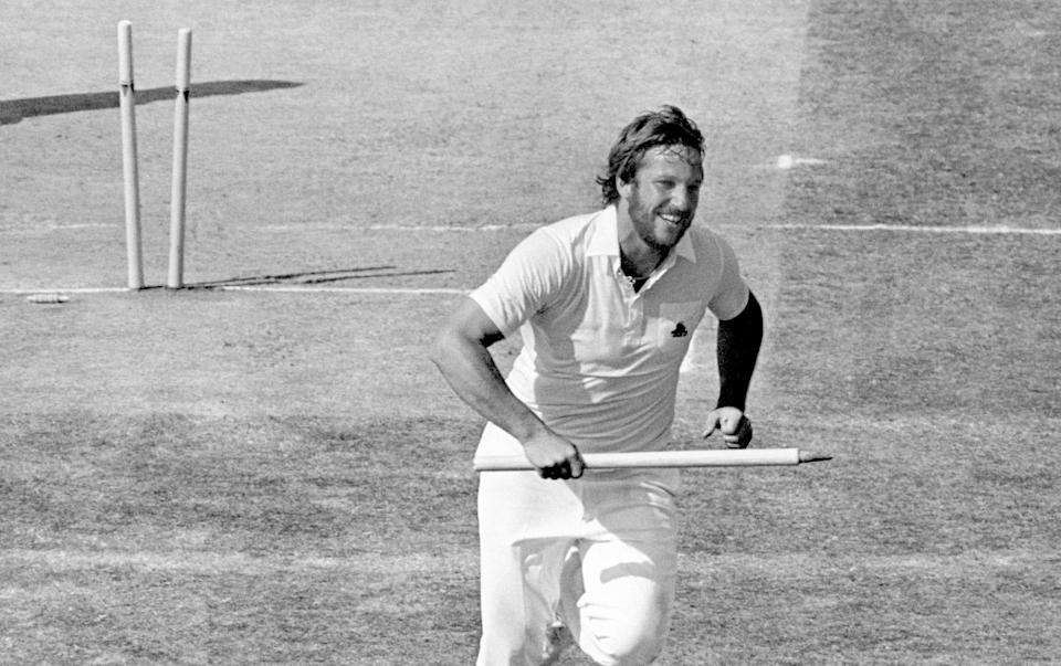 England's Ian Botham races back to the Edgbaston pavilion with a souvenir stump in his hand after England won the Fourth Test to take a 2-1 series lead ... Cricket - Ashes Series - PA Archive