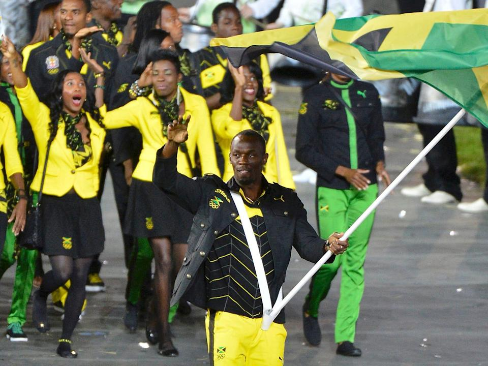 Jamaica's Olympic team in 2012 dressed in bright yellow colors.