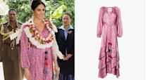 """<p>The Duchess wore this look on day nine of the royal tour in Fiji, and it caused such a stir that fan site <a rel=""""nofollow noopener"""" href=""""http://meghansmirror.com/"""" target=""""_blank"""" data-ylk=""""slk:Meghan's Mirror"""" class=""""link rapid-noclick-resp"""">Meghan's Mirror</a> temporarily crashed as users tried to find out where it was from. Thankfully, the dress itself is still in stock in a S/M size – you can buy Meghan's 'Federica' design by New York based designer Figue on the brand's website. <a rel=""""nofollow noopener"""" href=""""https://figue.com/products/5181-3308-frederica-dress?variant=7475576963120"""" target=""""_blank"""" data-ylk=""""slk:Shop now."""" class=""""link rapid-noclick-resp"""">Shop now.</a> <i>[Photo: Getty]</i> </p>"""