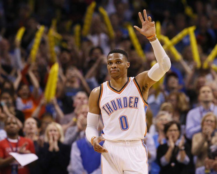 Russell Westbrook logged his record-tying assist and rebound on the same play. (AP)