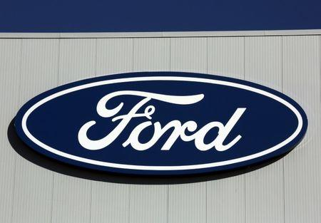 A Ford logo is seen on a wall of the Oakville Assembly Plant as workers with UNIFOR attended a ratification vote nearby