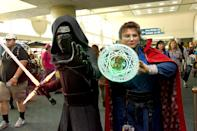 <p>Cosplayers dressed as Kylo Ren and Doctor Strange at Comic-Con International on July 19, 2018, in San Diego. (Photo: Araya Diaz/Getty Images) </p>
