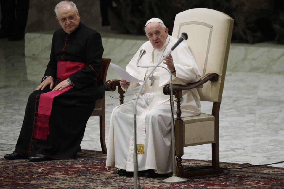 Pope Francis delivers his message on the occasion of the weekly general audience in the Paul VI hall at the Vatican, Wednesday, Oct. 21, 2020. (AP Photo/Gregorio Borgia)