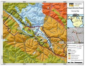 Location and Regional Geology Map of the Freegold Mountain Project, Yukon
