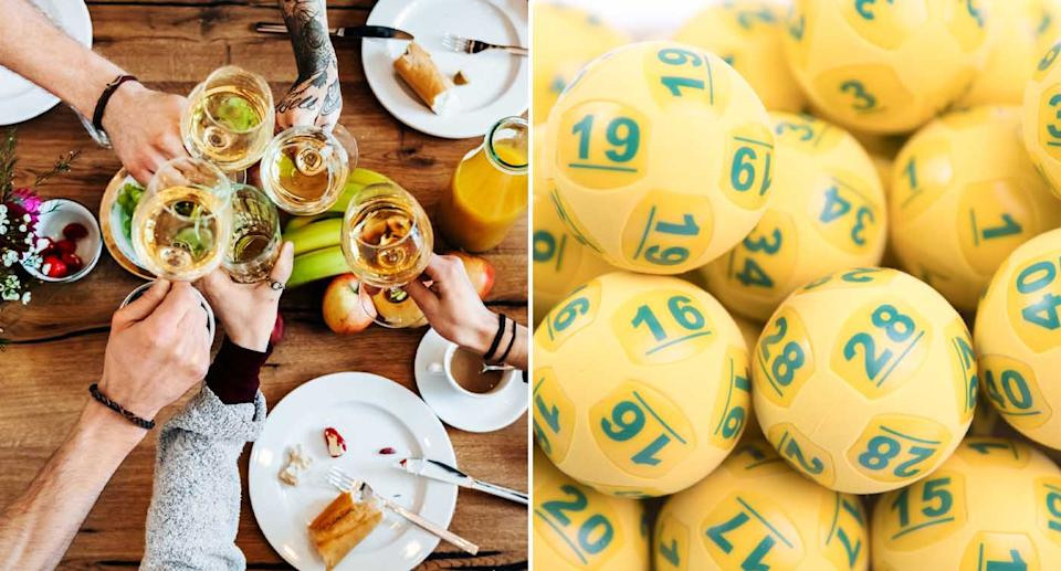 People are seen celebrating with wine and Oz Lotto balls are also pictured.