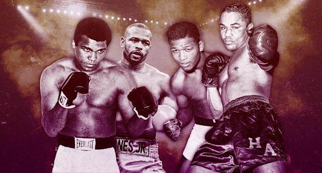 Muhammad Ali, Roy Jones Jr., Sugar Ray Robinson and Henry Armstrong were the first to be drafted in the Yahoo Sports Boxing Legends draft. (Photo illustration by Paul Rosales/Yahoo Sports)