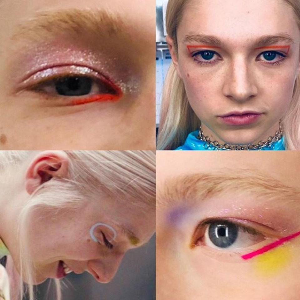 """<p>Jules's (Hunter Schafer) makeup is always colorful with lots of eyeliner worn in unexpected places. Davy wanted her looks to be """"playful, carefree, and universal in terms of gender—not super feminine."""" The idea behind these looks is that they take only 5 to 10 minutes and are applied to an otherwise fresh and clean face with little to no additional makeup.</p> <p>To copy the looks, Davy recommends thinking of your eyelids like a canvas. """"Hunter Schafer, just like her character Jules, is an artist, so I wanted her looks to feel painterly or like tiny drawings,"""" she says. Davy also opted for no mascara for a majority of Jules's looks. """"I loved sometimes not using mascara on her, which would help keep her looks from feeling too polished or feminine,"""" she adds.</p> <p>Unlike some of the other characters' looks, which represented what was going on with their character specifically in that moment, Jules's makeup was meant to serve as more of a timeline. """"I love how Jules's looks go from being lighthearted with pastels and neons to increasingly darker and more moody as the episodes go on,"""" Davy says. """"Her look takes a quick turn after she goes and visits her friends out of town.""""</p> <p>Although the artfulness of these looks can be intimidating, Davy's intention was to encourage any and everyone to try them out. """"You don't have to be good at makeup for these,"""" she says. """"It's all about quick placement of color, and it should feel fun and uplifting.""""</p>"""