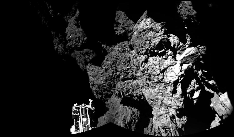 IN SPACE:  (EDITORIAL USE ONLY) This November 13, 2014 handout photo provided by the European Space Agency (ESA) shows the surface of the 67P/Churyumov-Gerasimenko comet as seen from the Philae lander, which landed on the comet's surface yesterday. ESA, despite some malfunctions on the Philae craft, successfully landed it on the comet on November 12, 2014 making it the first man-made craft to ever land on a comet. The Philae lander, launched from the Rosetta probe, is a mini laboratory that will gather data on the comet.  (Photo ESA via Getty Images)