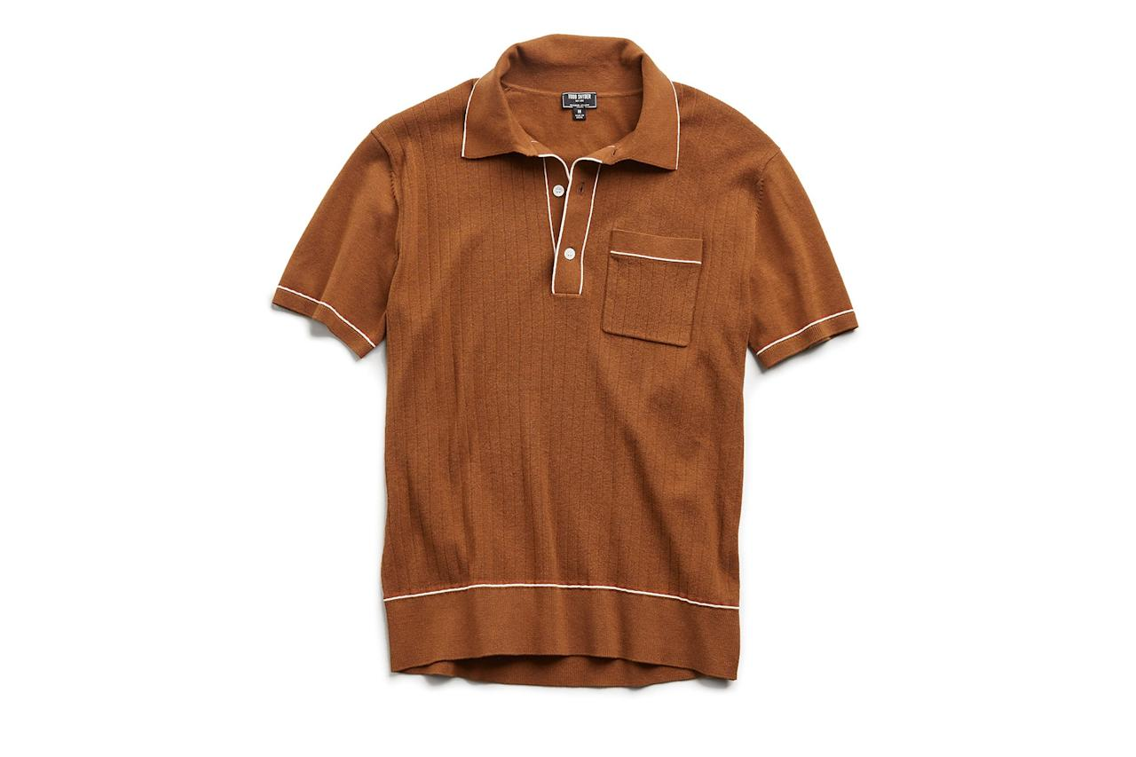 """$198, Todd Snyder. <a href=""""https://www.toddsnyder.com/collections/tipped-polo/products/tipped-ribbed-polo-sweater-chestnut"""">Get it now!</a>"""