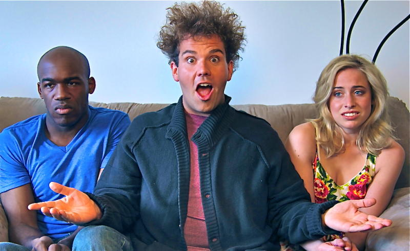"This image released by City of Sass shows Nnamdi Ngwe, left, Jake Sasseville,and  Molly Miller, right, in a scene from the loosely scripted comedy series, ""Delusions of Grandeur."" Sasseville, the former late night talk show host of ""Late Night Republic,""  purchased eight 30-minute blocks on ABC Family to launch his series in October but ABC declined to air it because it did not meet their standards for programming for time buy purchases. But he was able to get his series on Blip and the pilot episode debuted on Oct. 3. (AP Photo/City of Sass)"