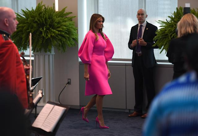 Social media critics disapproved of the fluorescent pink dress the first lady wore to give an anti-bullying speech at the United Nations. (Photo: Getty Images)