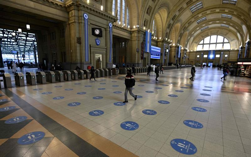 A usually busy train station in Buenos Aires, Argentina, amid the coronavirus lockdown -  JUAN MABROMATA/AFP