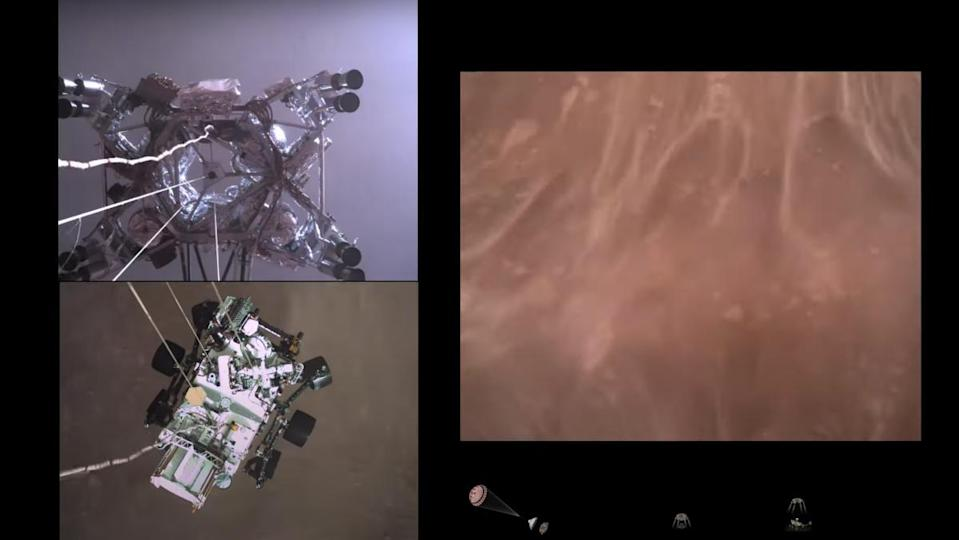 Images of the Perseverance rover and the Mars surface from a video released by NASA.