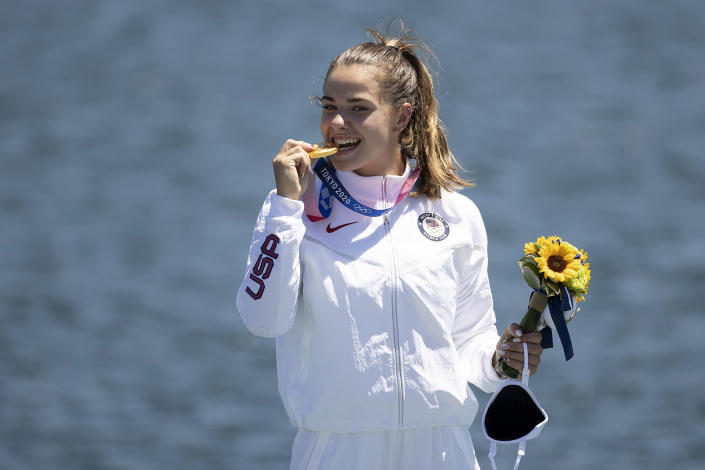 Gold medalist Nevin Harrison of Team USA celebrates at the medal ceremony following the Women's Canoe Single 200m Final A on Day 13 of the Tokyo 2020 Olympic Games at Sea Forest Waterway on August 5, 2021. / Credit: Laurence Griffiths / Getty Images