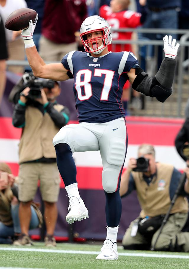 <p>New England Patriots' Rob Gronkowski celebrates after scoring a first quarter touchdown. The New England Patriots host the Houston Texans in their NFL season-opening game at Gillette Stadium in Foxborough, MA on Sep. 9, 2018. (Photo by Jim Davis/The Boston Globe via Getty Images) </p>