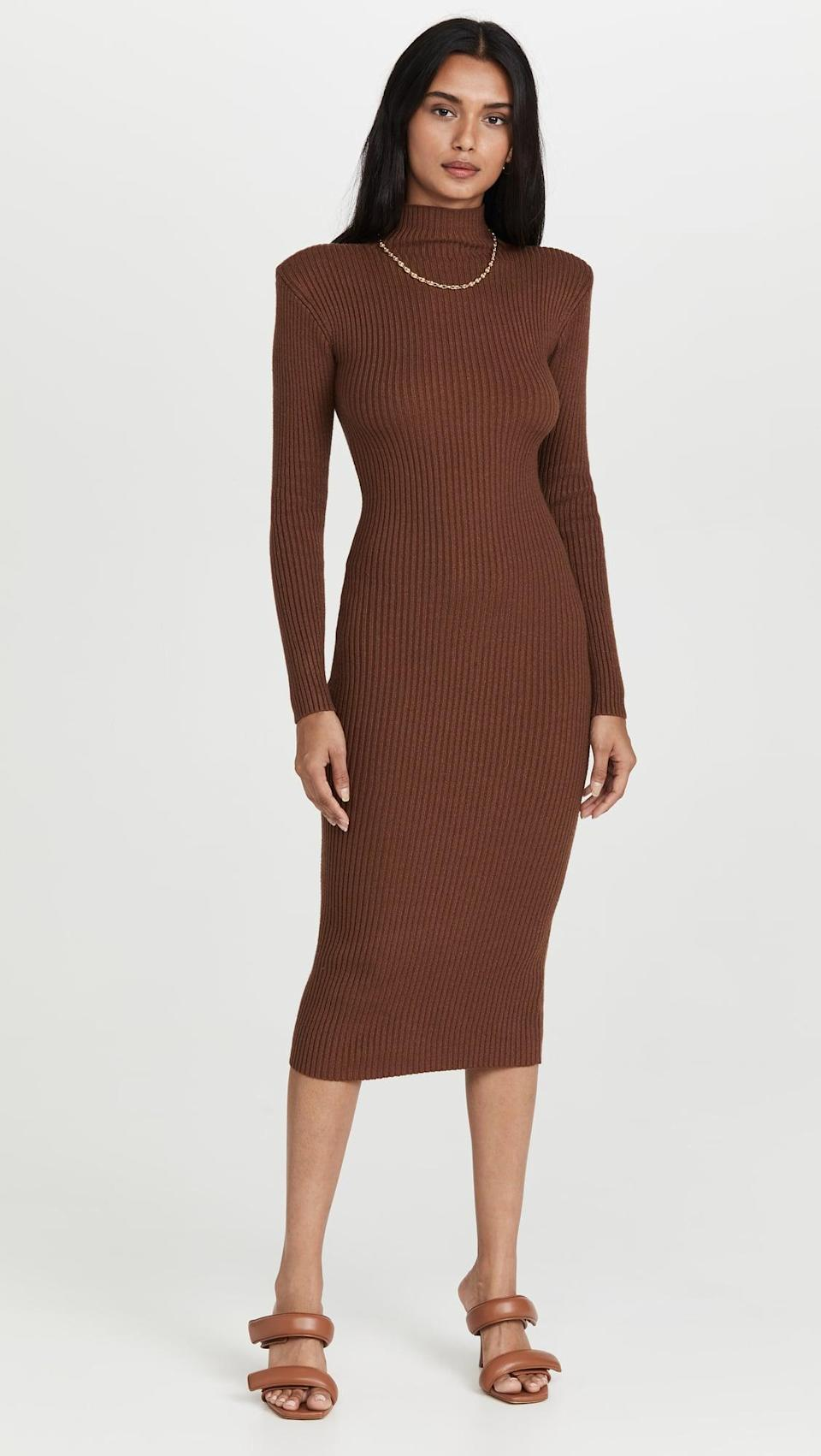 <p>This <span>ASTR the Label Abilene Sweater Dress</span> ($98) has statement shoulders that we're obsessed with. Plus, the mock neck will keep you warm and cozy.</p>