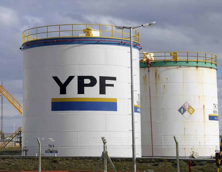 File photo shows gas tanks belonging to Argentina's YPF, controlled by Repsol of Spain. The decision to nationalise Repsol's stake in 2012 sparked a bitter legal battle (AFP Photo/Juan Mabromata)