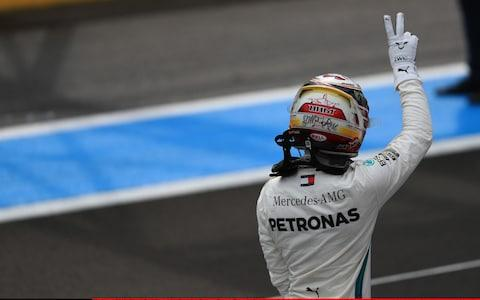 23rd June 2018, Circuit Paul Ricard, Le Castellet, France; French Formula One Grand Prix, qualification; Mercedes AMG Petronas Motorsport; Lewis Hamilton takes pole as he exits his car - Credit: ACTION PLUS