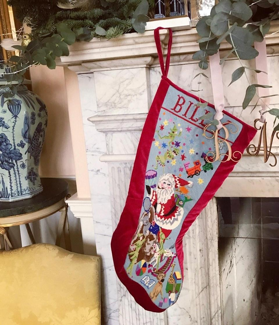 A snap of Billy's stocking embroidered by my mother when he was born. Notice our Puggle (Edie) and Australian koala.