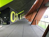 <p>Three lanes of track run on the concourse level of the stadium, giving Oregon athletes a sheltered 500 meters for running during rainy Eugene winters. </p>