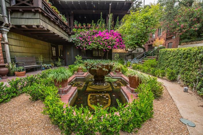 <p>There are numerous water features on the grounds, including this quaint koi pond that can be enjoyed from the breakfast room, as well as the guest house.</p>