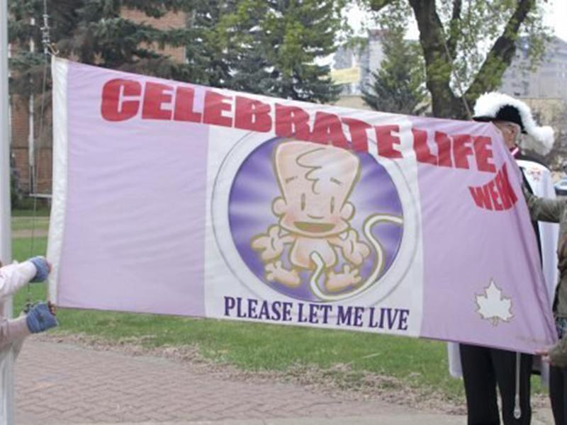 The Celebrate Life Week flag in Prince Albert, Saskachewan: Change.org