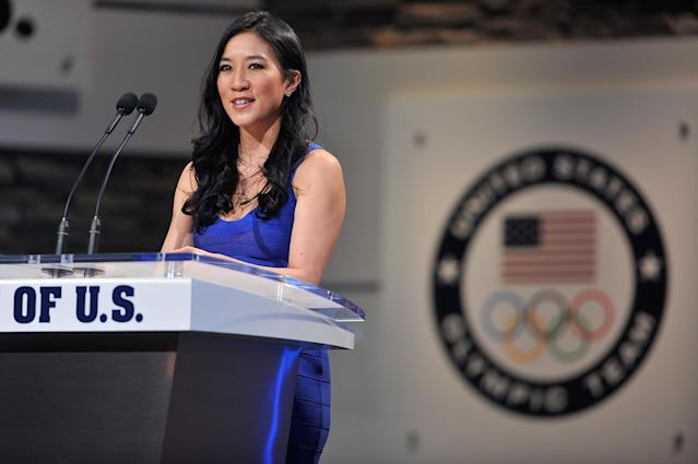 <p>Michelle Kwan presents the award for Female Athlete of the Paraylmpic Games at the USOC Olympic Committee Best of U.S. Awards Show at the Warner Theatre on April 2, 2014 in Washington, DC. (Photo by Larry French/Getty Images for the USOC) </p>