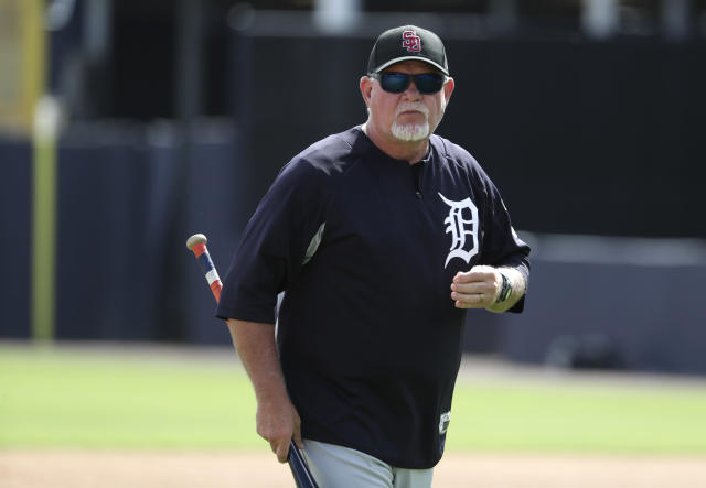 Detroit Tigers manager Ron Gardenhire wears a hat honoring the victims of the shooting at Marjory Stoneman Douglas High School, before a baseball spring exhibition game against the New York Yankees, Friday, Feb. 23, 2018, in Tampa, Fla. (AP Photo/Lynne Sladky)